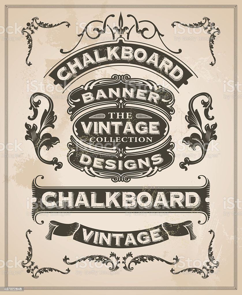 Vintage retro hand drawn banner-set – Vektorgrafik