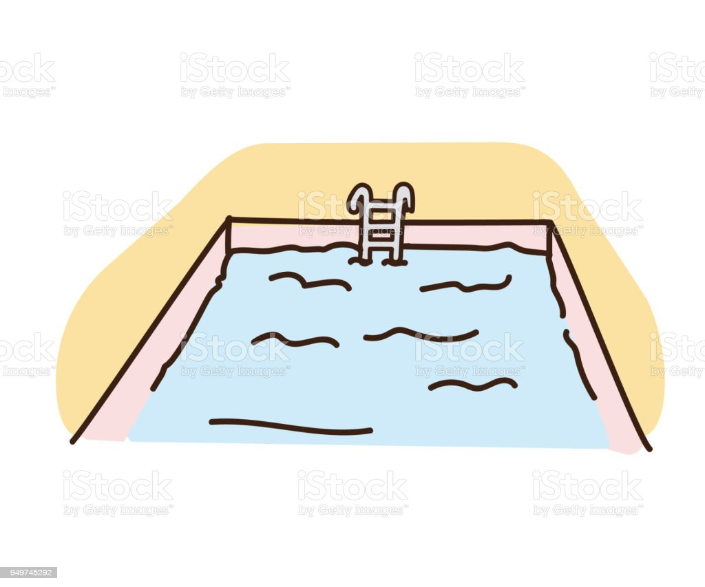 vintage retro hand drawn pool illustration with outlines vector art