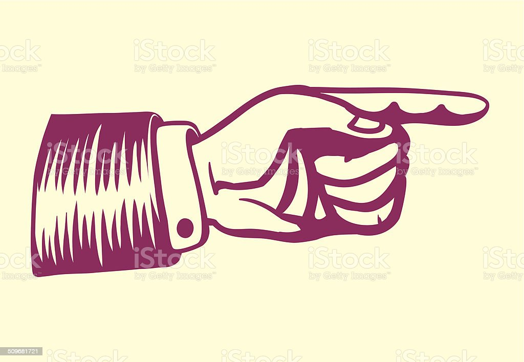 Vintage retro hand with pointing finger vector art illustration