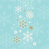 Retro hanging snowflake design. Hanging from the top into the centre of the square, against a blue background of snow.