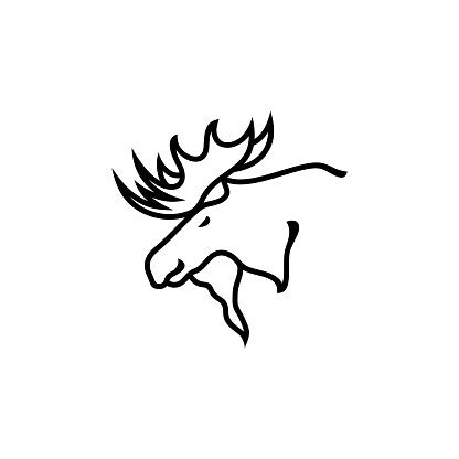 Vintage retro hipster moose Line art logo icon stock illustration Canada, Moose, Icon, Insignia, Winning, adventure, hunting
