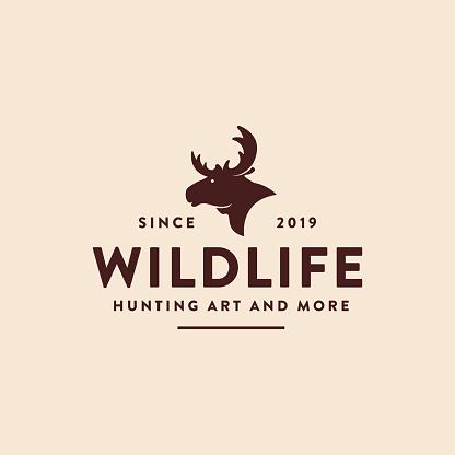 Vintage retro hipster moose logo icon