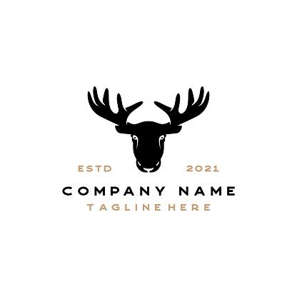 Vintage retro hipster moose silhouette vector logo icon stock illustration Canada, Moose, Icon, Insignia, Winning, adventure, hunting