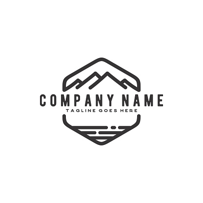 Vintage Retro Hipster Mountain and Sea Badge design inspiration