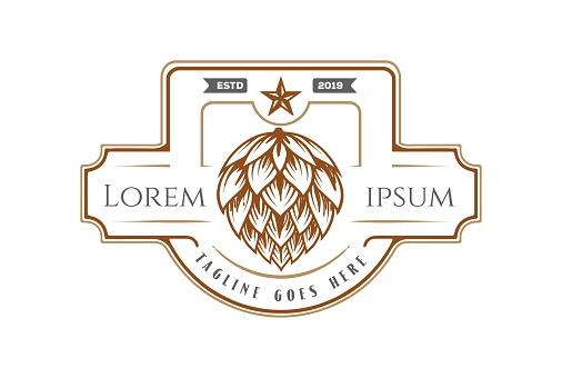 Vintage Retro Hop Beer Brewery Label Logo Design Vector