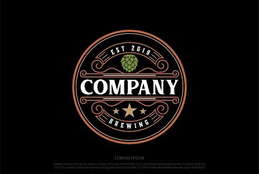 Vintage Retro Hop Beer Brewing Brewery Label Logo Design Vector