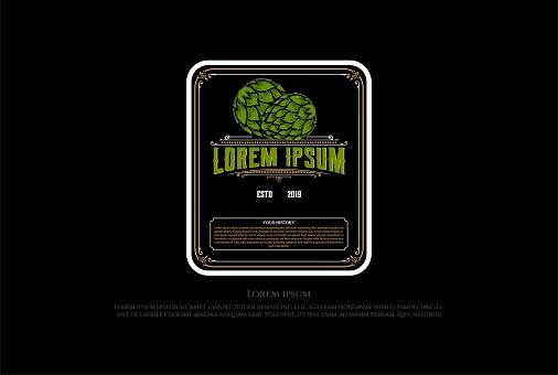 Vintage Retro Hop for Craft Beer Brewing Brewery Label emblem Design Vector