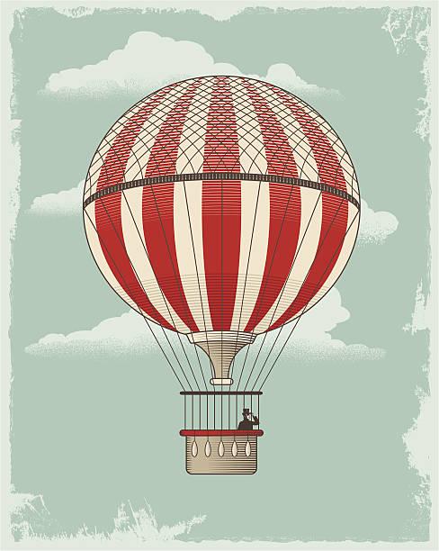 ilustrações de stock, clip art, desenhos animados e ícones de vintage retro balão de ar quente - balão enfeite