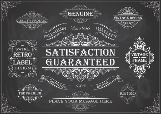 Vintage Retro-Beschriftungssatz auf einer Kreidetafel – Vektorgrafik