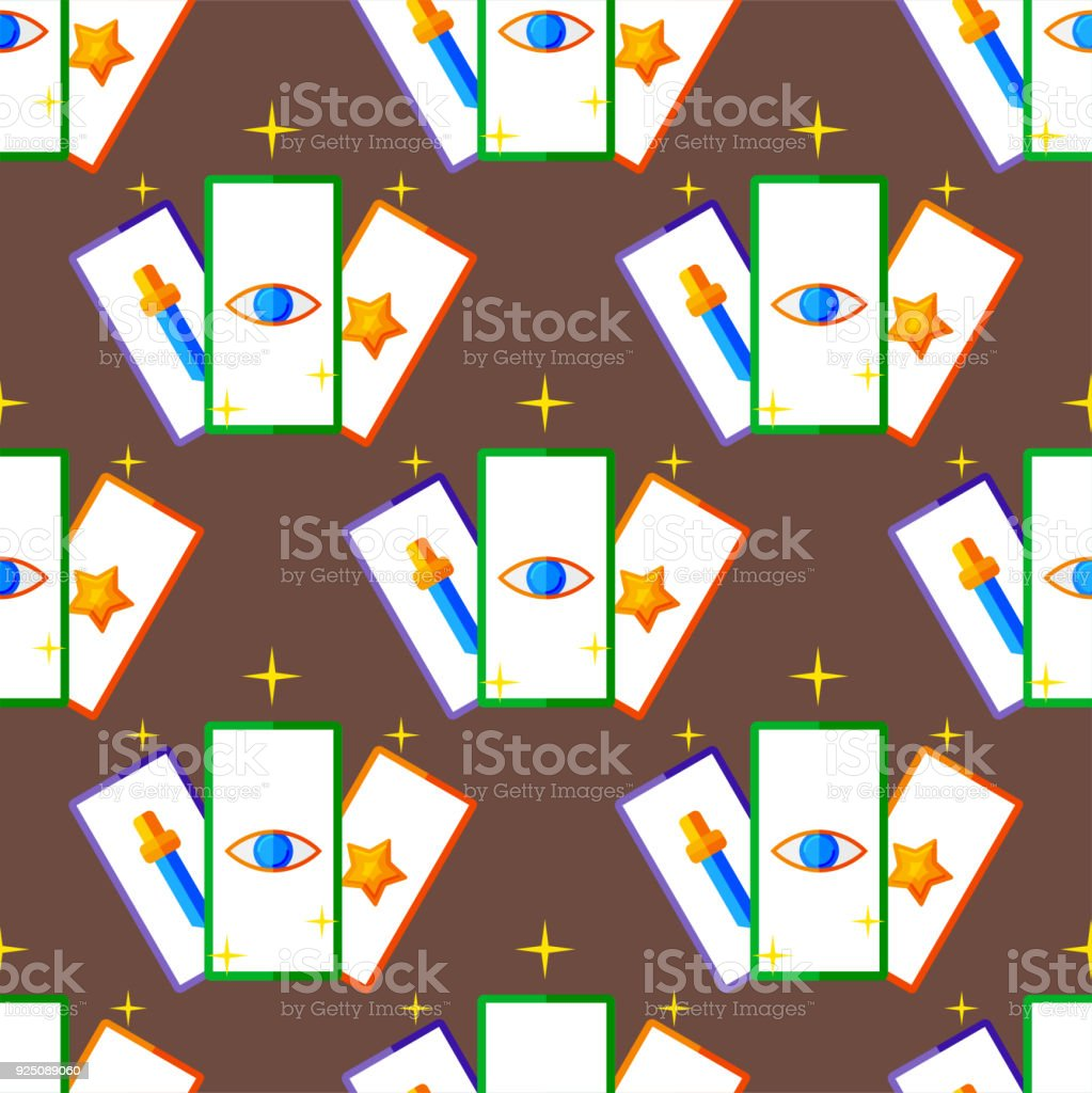 Vintage Retro Magic Vector Cards Art Style Gambler Playful Symbol
