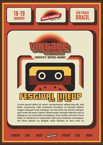 Vintage Retro Music Festival Poster or Flyer Design with Cassette and Lineup for Bar or Night Club Promo Banner