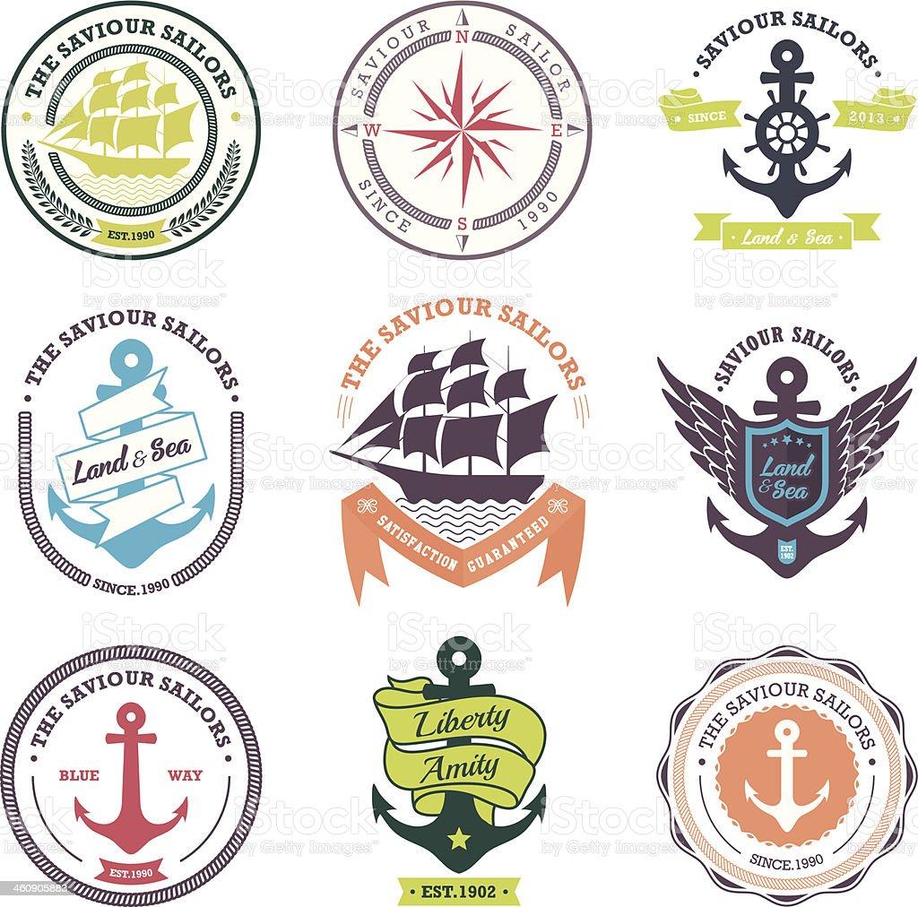 Vintage Retro Nautical Badges And Labels vector art illustration