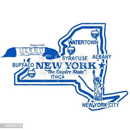 Vintage Retro New York Travel Stamp