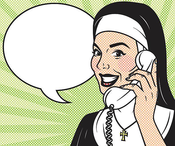 ilustraciones, imágenes clip art, dibujos animados e iconos de stock de vintage retro monja en la línea telefónica art icono - hermana
