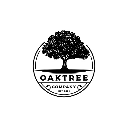 Vintage Retro Emblem Oak, Banyan, Maple Tree Service Logo Design