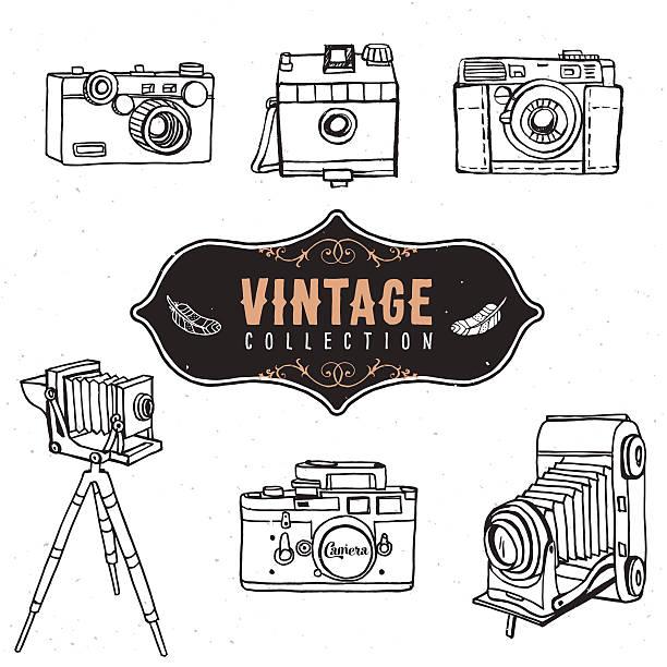 vintage retro alten kamera-kollektion. - tierfotografie stock-grafiken, -clipart, -cartoons und -symbole