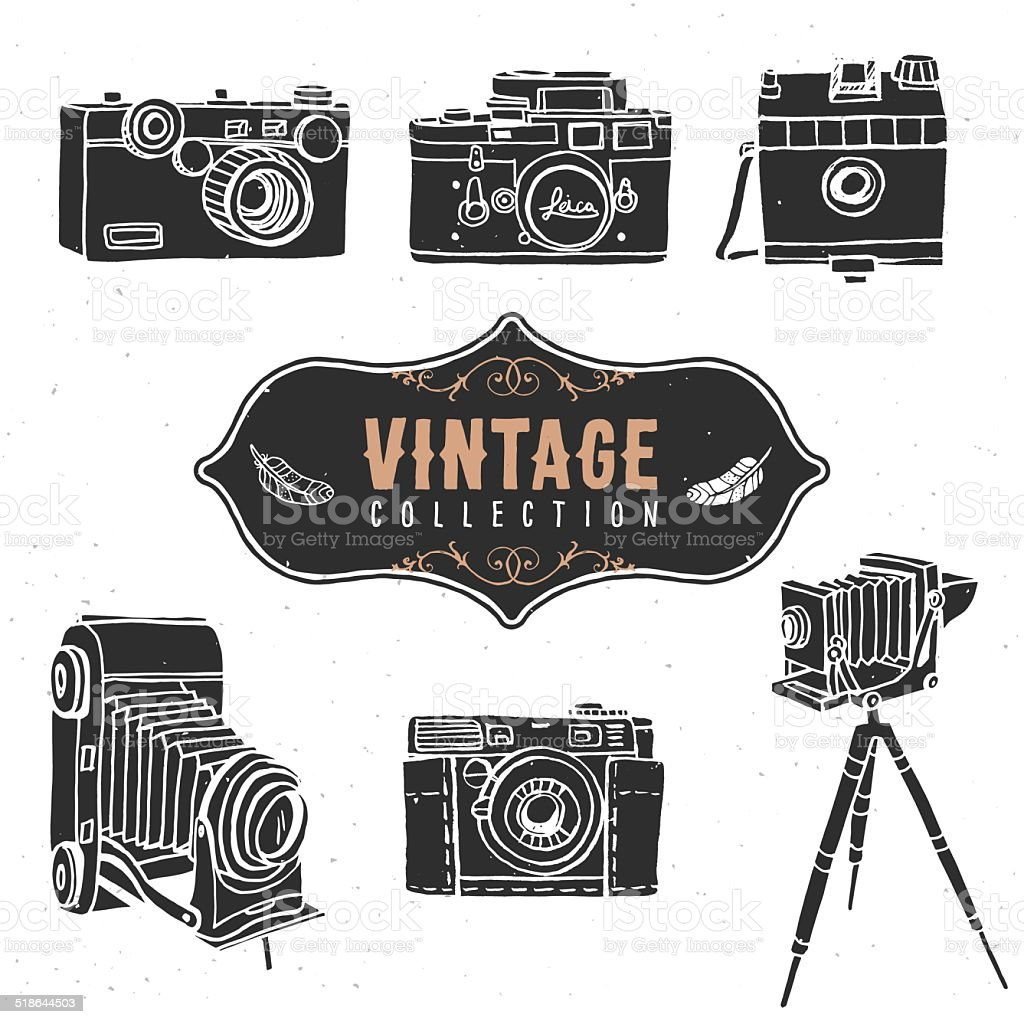Vintage retro old camera collection. vector art illustration