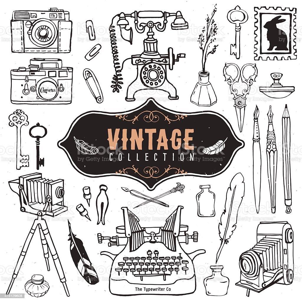 Vintage retro vieux images éphémères objets. - Illustration vectorielle