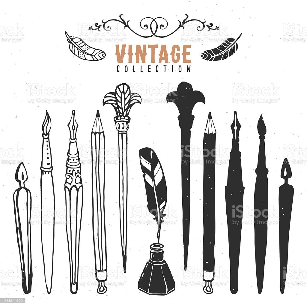Vintage retro vieux Pointe de stylo plume à encre Brosse collection. - Illustration vectorielle