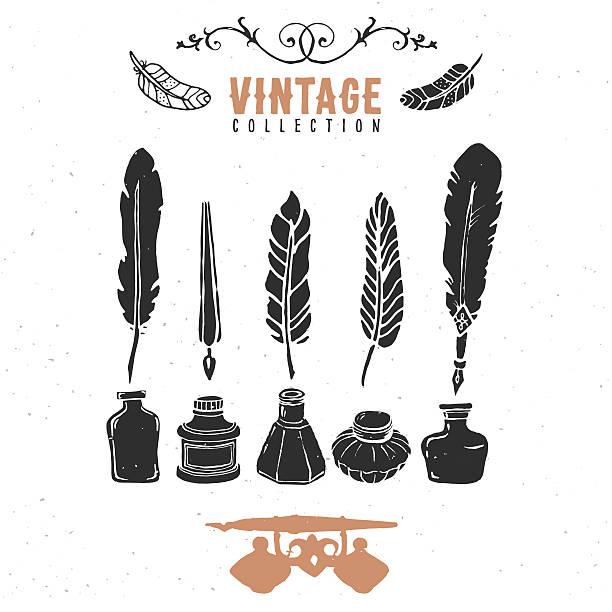 ilustrações de stock, clip art, desenhos animados e ícones de vintage retro caneta de pena tinta velha aparo colecção. - tinteiro