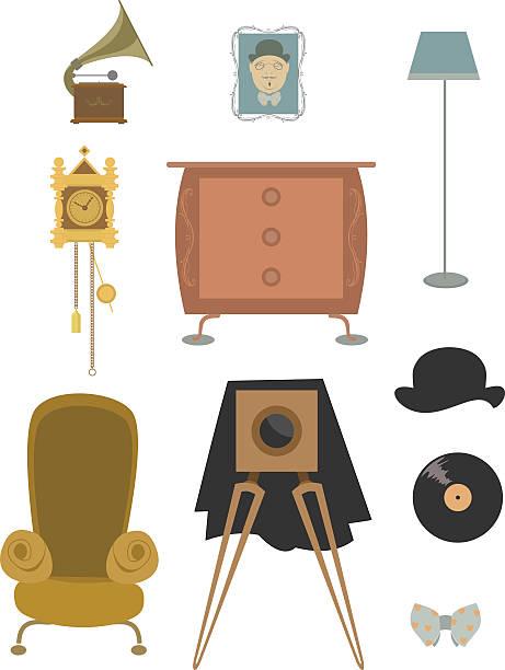 vintage retro alten sachen kollektion - stuhllehnen stock-grafiken, -clipart, -cartoons und -symbole