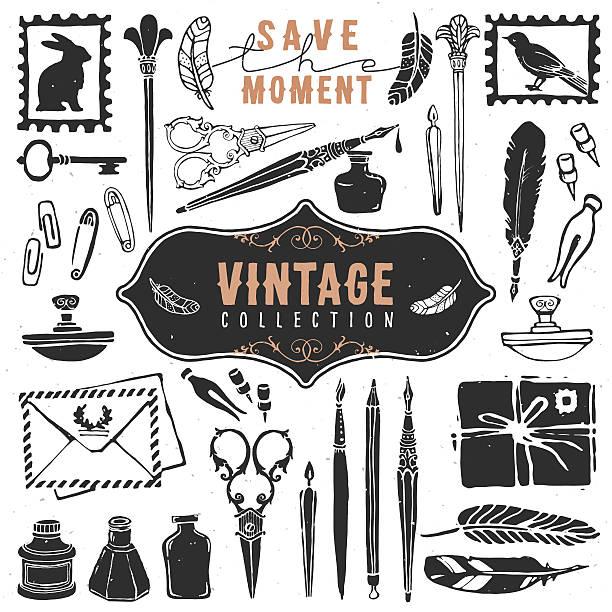 Vintage retro vieux vêtements Ecrivain confectionné collection. - Illustration vectorielle