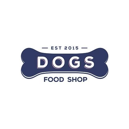 Vintage retro pet food for dog with bone badge logo design