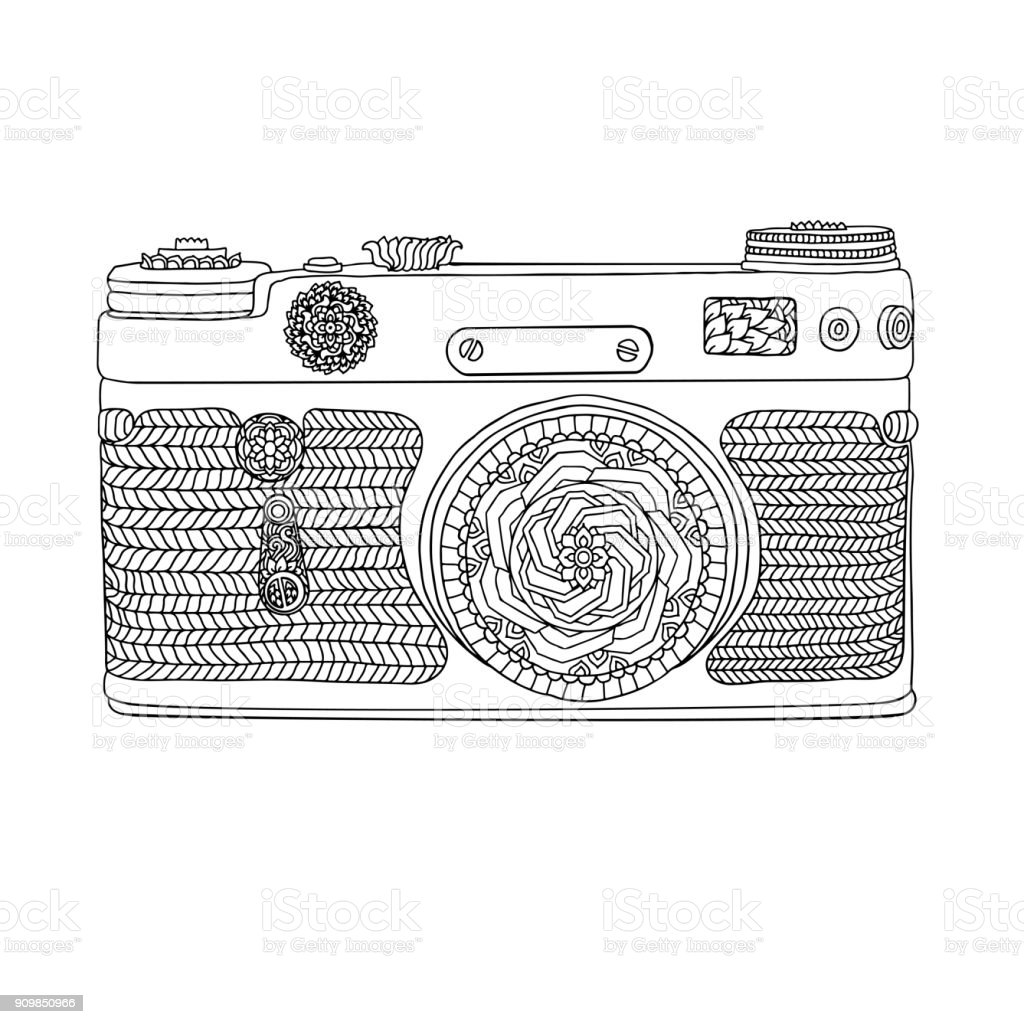 Retro Vintage Fotograf Makinesi Ile Desen Beyaz Zemin Uzerine
