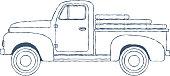 Vintage Retro Pickup Truck isolated on white Background. Vector illustration