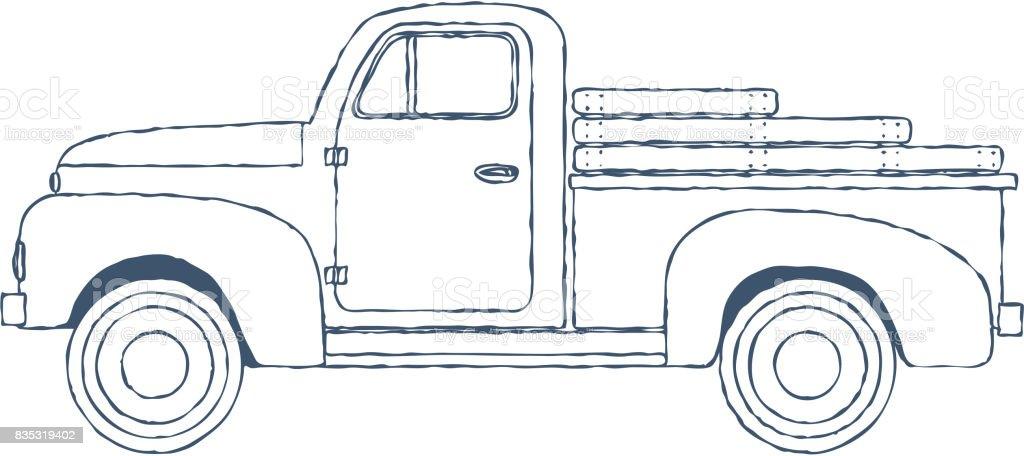 Vintage Retro Pickup Truck isolated on white Background. Vector vector art illustration