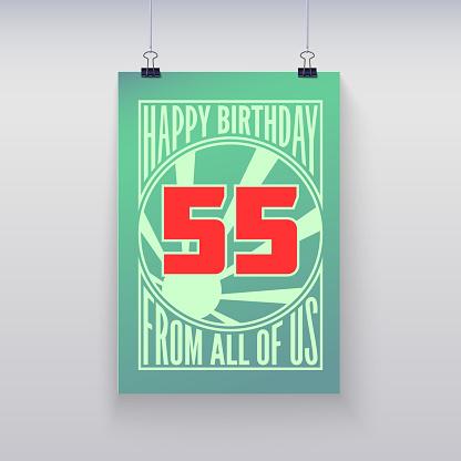 Vintage Retro Poster Happy Birthday-vektorgrafik och fler bilder på 1940-1949