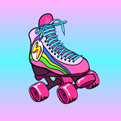 Vintage, retro quad roller skate. Fun bright colorful sketch, hand drawn illustration.