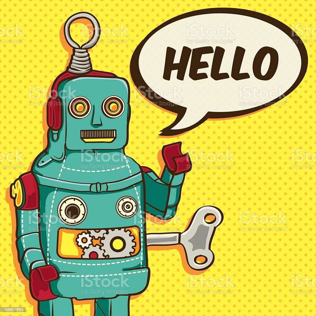 vintage retro robot vector illustration for greeting card