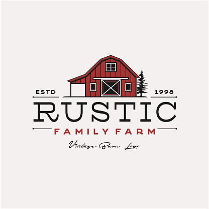 Vintage Retro Rustic Barn - Agriculture farm barn illustration logo design - stock illustration Indonesia, Agriculture, Badge, Barn, Cow, Farm, Livestock