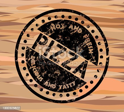 istock Vintage retro style grungy pizza stamp on wood texture, vector illustration 1332325822