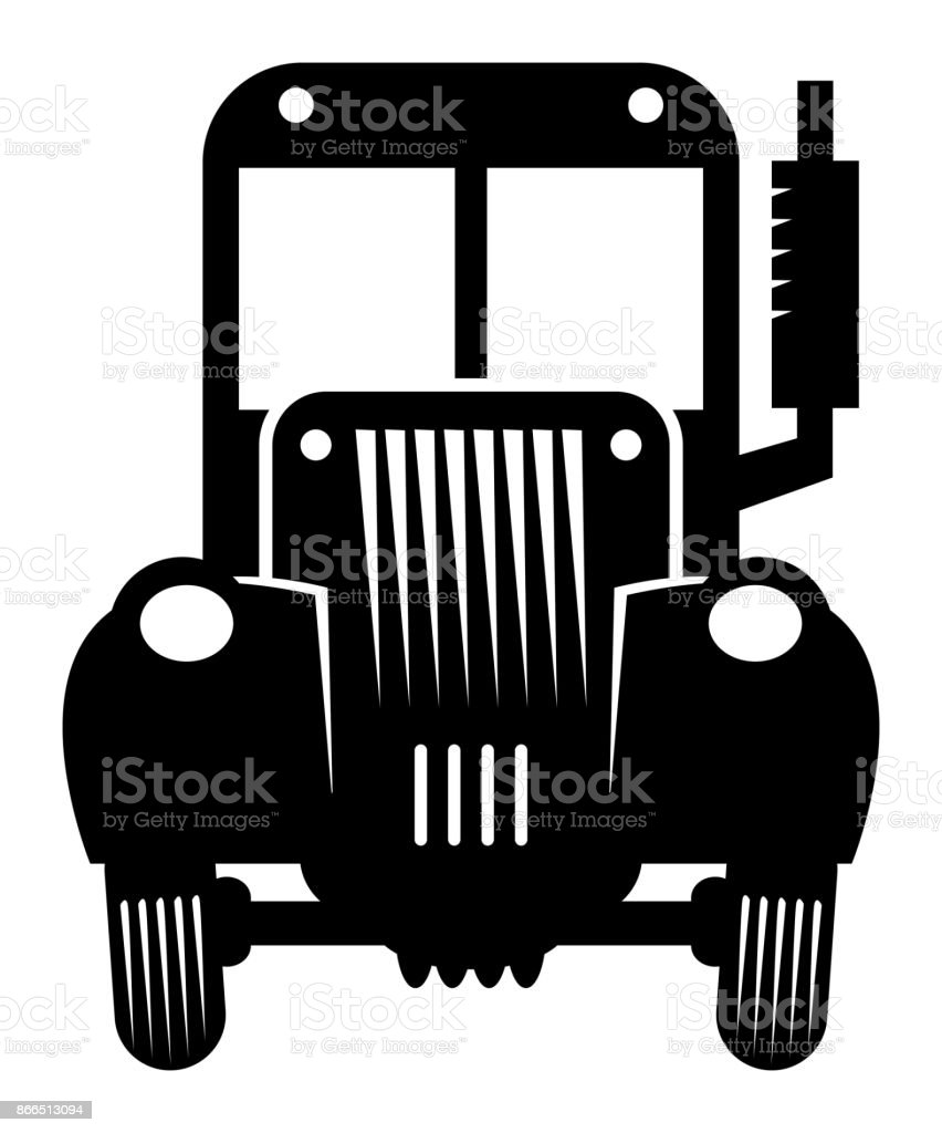 Vintage retro tractor cartoon vector art illustration