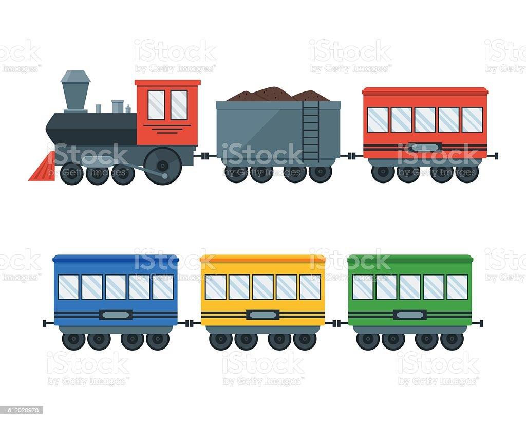 Vintage Retro Transportation Train. Vector vector art illustration