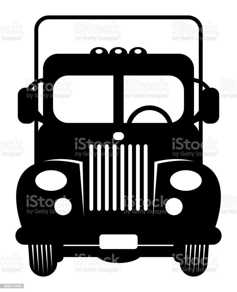 Vintage retro truck cartoon vector art illustration