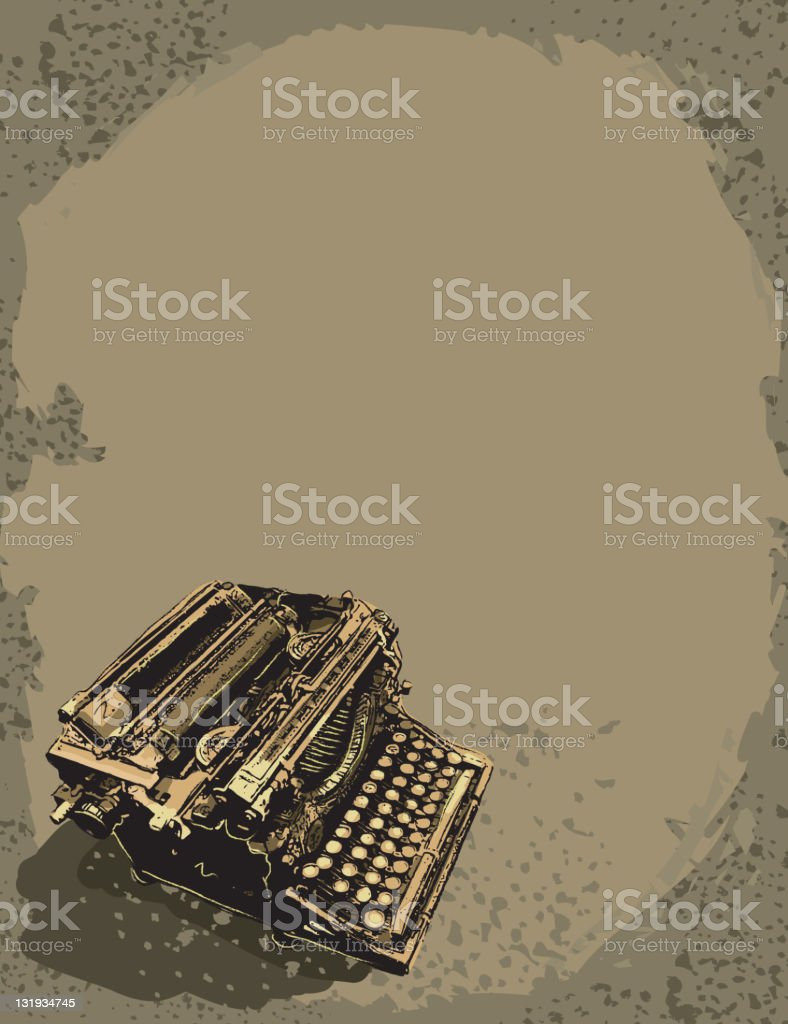 Vintage retro typewriter on sepia background royalty-free stock vector art