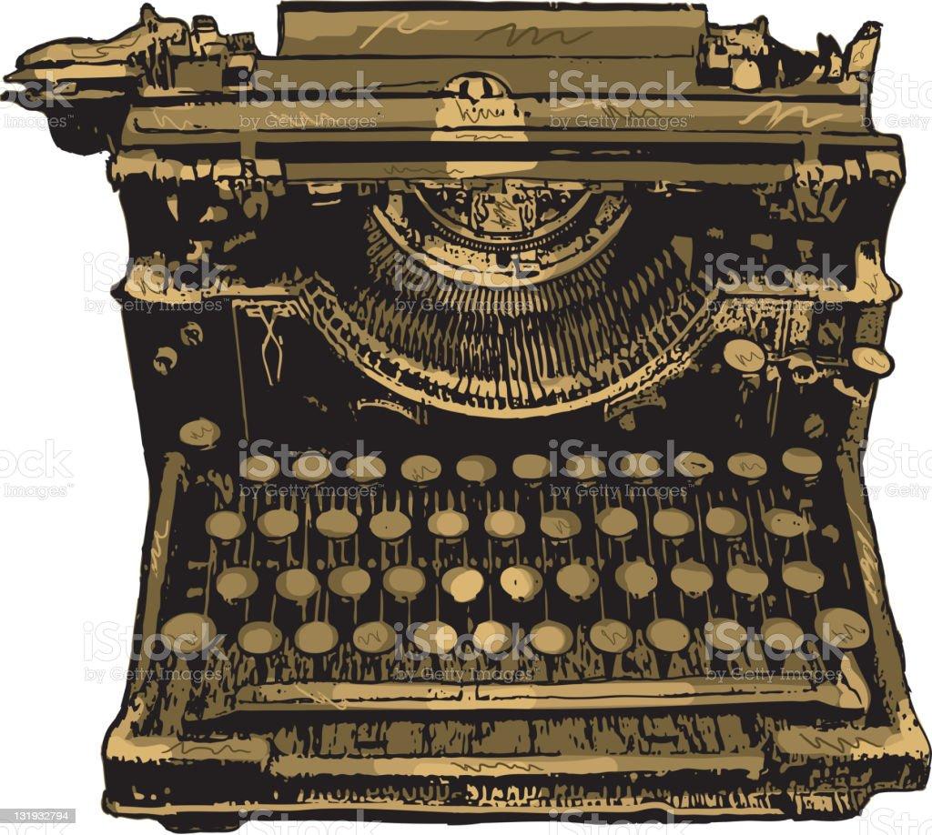 Vintage retro typewriter on white background royalty-free stock vector art