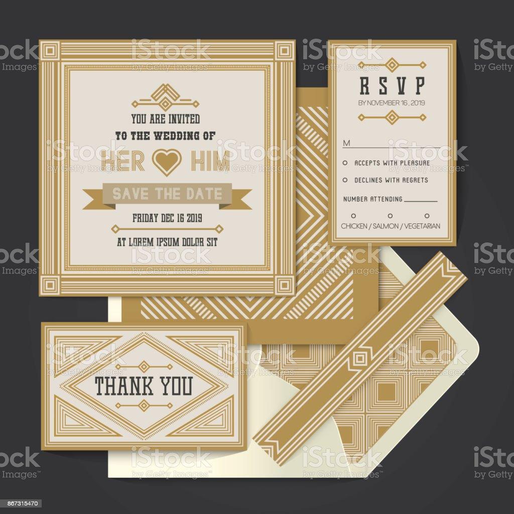 Modelo de cartão de convite de casamento vintage retrô vector - ilustração de arte em vetor