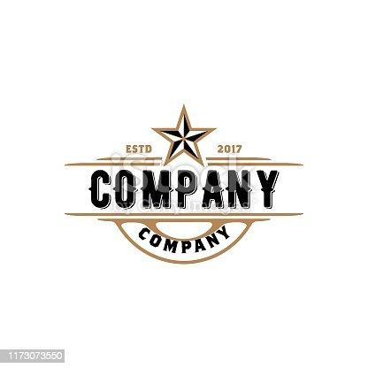 istock Vintage Retro Western Country Emblem Texas design 1173073550