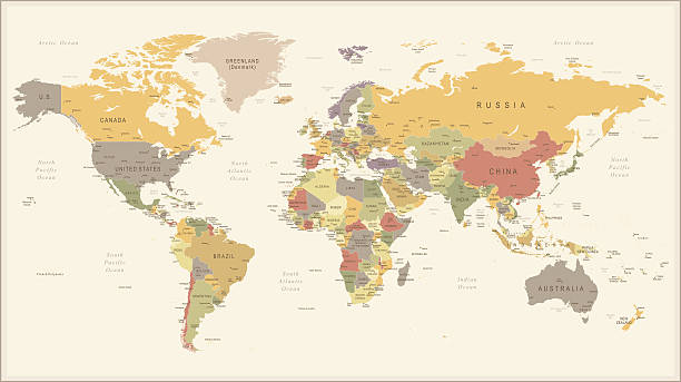 vintage retro world map - illustration - weltkarte stock-grafiken, -clipart, -cartoons und -symbole
