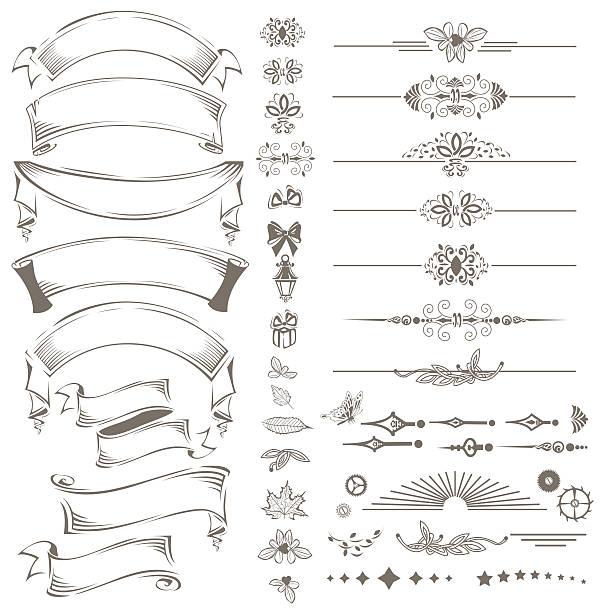 illustrations, cliparts, dessins animés et icônes de vintage ribbon and lace design elements set - tatouages de bannières