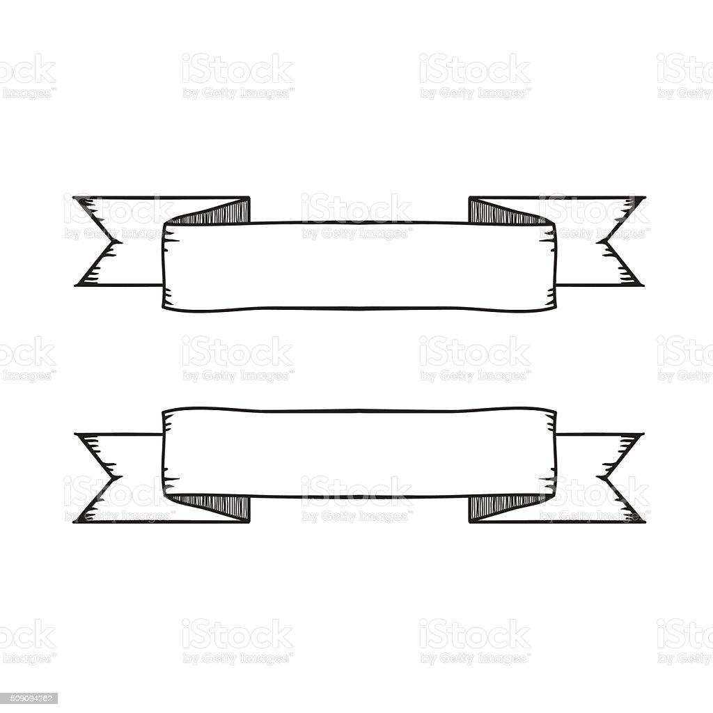 Dessin Ruban bannière de ruban vintage vector dessin à la main – cliparts