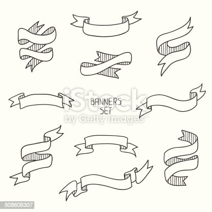 Vintage ribbon banners, hand drawn set  for design. Vector illustration.