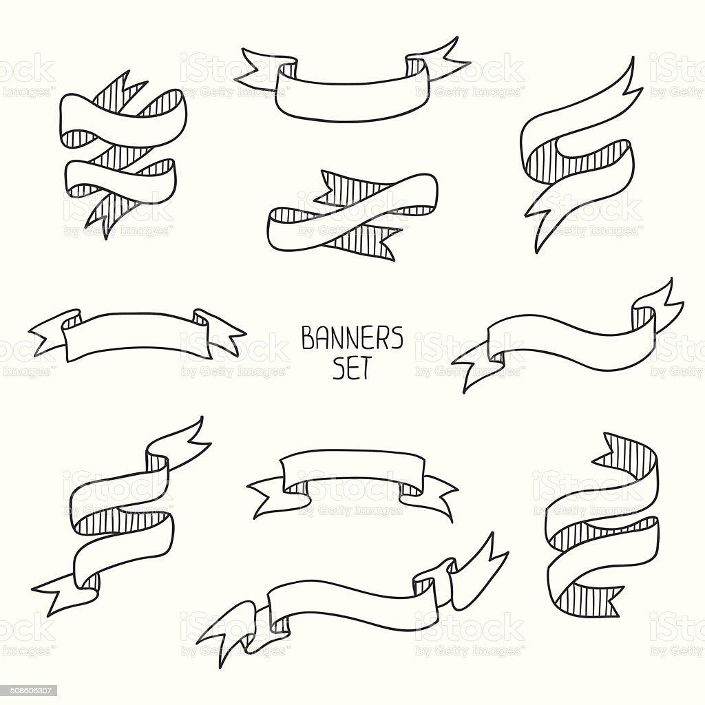 Vintage banners, plano conjunto de diseño dibujados a mano.  Ilustración vectorial. - ilustración de arte vectorial