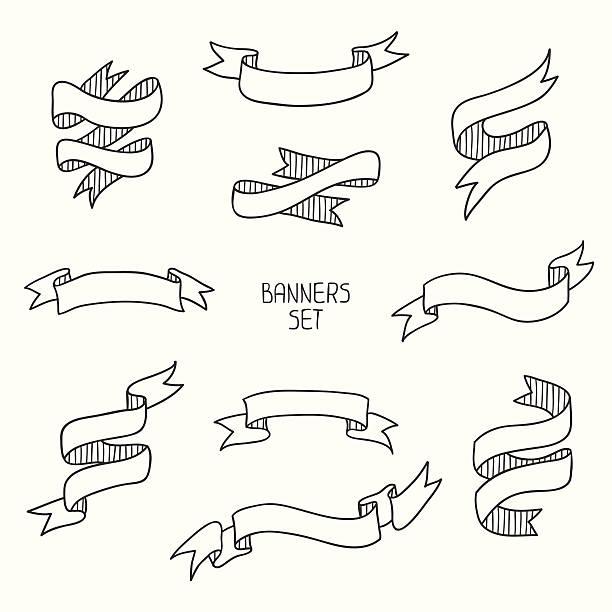 ilustraciones, imágenes clip art, dibujos animados e iconos de stock de vintage banners, plano conjunto de diseño dibujados a mano.  ilustración vectorial. - marcos de garabatos y dibujados a mano