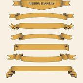 Perfect vintage long ribbon banners, hand drawn set