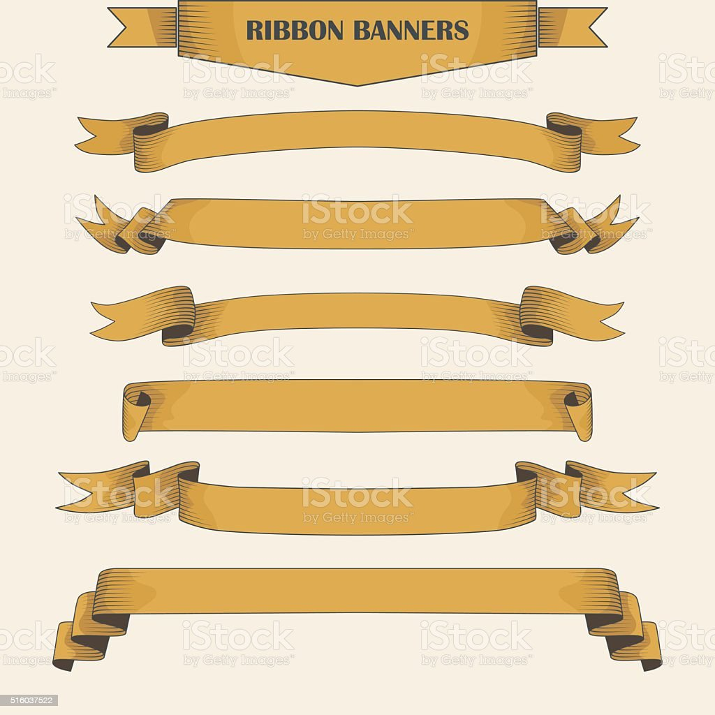 Vintage ribbon banners, hand drawn set vector art illustration